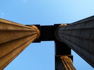 Unfinished Napoleonic War memorial, Calton Hill, Edinburgh, July 2011